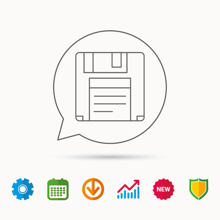 Floppy disk icon. Retro data storage sign. Calendar, Graph chart and Cogwheel signs. Download and Shield web icons. Illustration