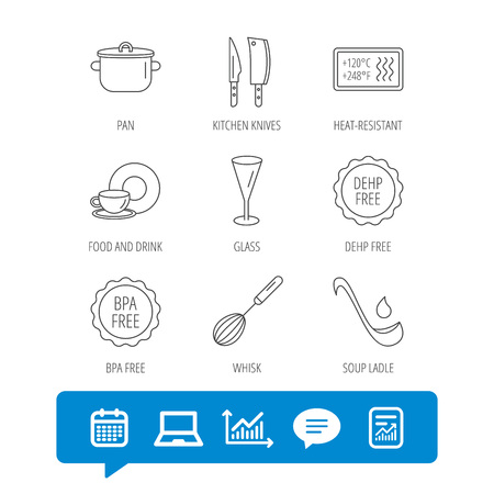Kitchen knives, glass and pan icons. Food and drink, coffee cup and whisk linear signs. Soup ladle, heat-resistant and DEHP, BPA free icons. Report file, Graph chart and Chat speech bubble signs
