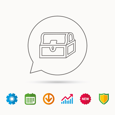 Treasure chest icon. Piratic treasury sign. Wealth symbol. Calendar, Graph chart and Cogwheel signs. Download and Shield web icons. Illustration