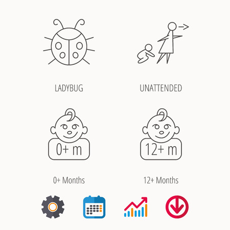 Infant child, ladybug and 0  months child icons. Unattended child linear sign. Calendar, Graph chart and Cogwheel signs. Download colored web icon.