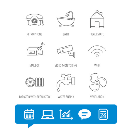 Wifi, video camera and mailbox icons. Real estate, bath and water supply linear signs. Radiator with heat regulator, phone icons. Report file, Graph chart and Chat speech bubble signs. Illustration