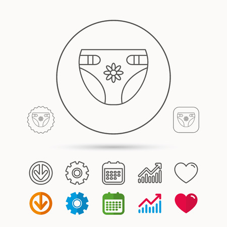 Diaper with flower icon. Child underwear sign. Newborn protection symbol. Calendar, Graph chart and Cogwheel signs. Download and Heart love linear web icons.