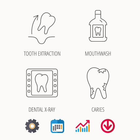 Tooth extraction, caries and mouthwash icons. Dental x-ray linear sign. Calendar, Graph chart and Cogwheel signs. Download colored web icon.