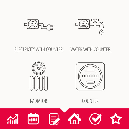 Electricity, radiator and water counter icons. Counter linear sign. Edit document, Calendar and Graph chart signs. Star, Check and House web icons. Illustration