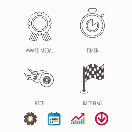 speedway: Race flag, winner medal and timer icons. Wheel on fire linear sign. Calendar, Graph chart and Cogwheel signs. Download colored web icon. Illustration