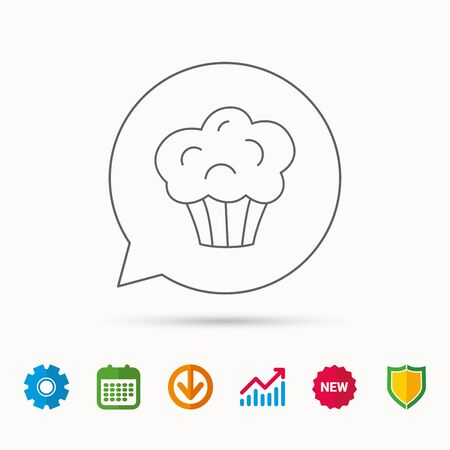 Muffin icon. Cupcake dessert sign. Bakery sweet food symbol. Calendar, Graph chart and Cogwheel signs. Download and Shield web icons.