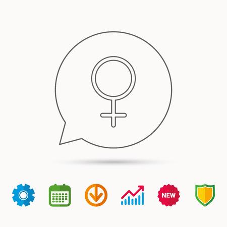 Vrouwelijk pictogram. Het geslachtsteken van vrouwen. Kalender-, grafiek- en tandradborden. Webpictogrammen downloaden en beveiligen.