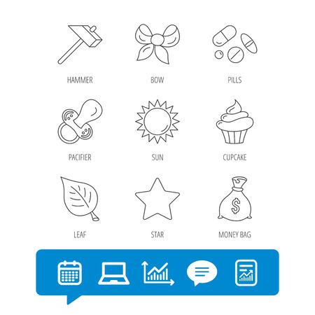 Money bag, star and bow icons. Leaf, pacifier and sun linear signs. Cupcake, pills and hammer flat line icons. Report file, Graph chart and Chat speech bubble signs. Laptop and Calendar web icons