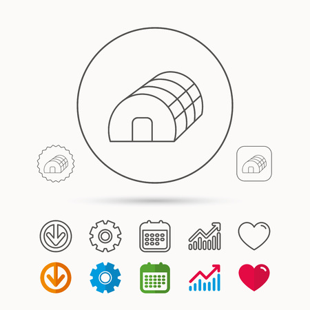 Greenhouse complex icon. Hothouse building sign. Warm house symbol. Calendar, Graph chart and Cogwheel signs. Download and Heart love linear web icons.