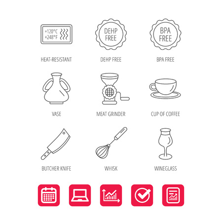 Coffee cup, butcher knife and wineglass icons. Meat grinder, whisk and vase linear signs. Heat-resistant, DEHP and BPA free icons. Report document, Graph chart and Calendar signs.