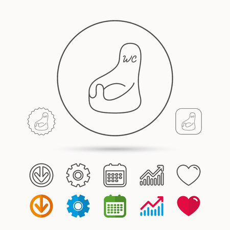 Baby wc icon. Child toilet sign. Washroom or lavatory symbol. Calendar, Graph chart and Cogwheel signs. Download and Heart love linear web icons. Illustration