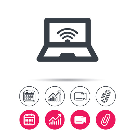 Computer with wifi icon. Notebook or laptop pc symbol. Statistics chart, calendar and video camera signs. Attachment clip web icons. Illustration