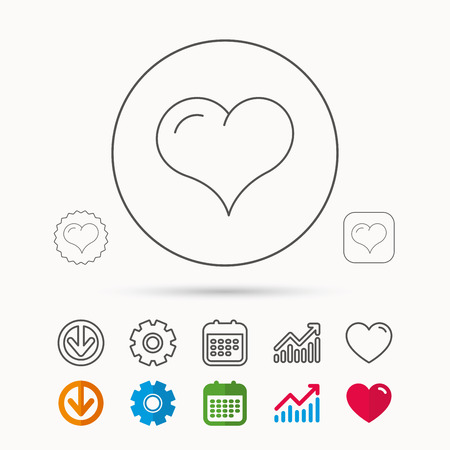 february 1: Love heart icon. Life sign. Calendar, Graph chart and Cogwheel signs. Download and Heart love linear web icons.