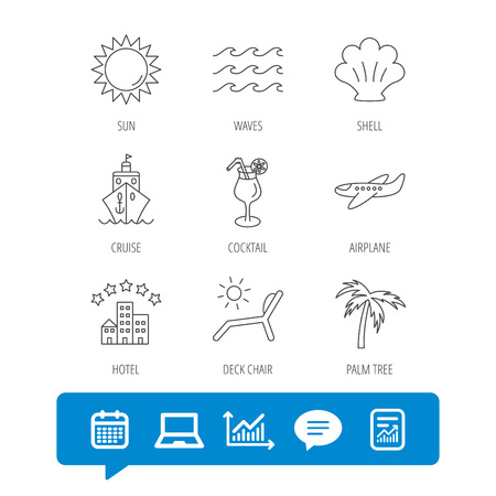 five star: Cruise, waves and cocktail icons. Hotel, palm tree and shell linear signs. Airplane, deck chair and sun flat line icons. Report file, Graph chart and Chat speech bubble signs.