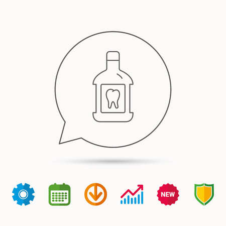 Mouthwash icon. Oral antibacterial liquid sign. Calendar, Graph chart and Cogwheel signs. Download and Shield web icons.