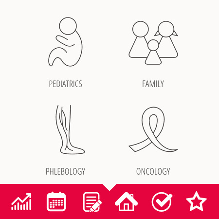 Family, pediatrics and phlebology icons. Oncology awareness ribbon linear sign. Edit document, Calendar and Graph chart signs. Star, Check and House web icons.