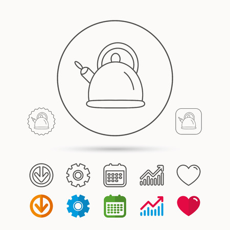Teapot icon. Kitchen kettle sign. Hot drink appliance tool. Calendar, Graph chart and Cogwheel signs. Download and Heart love linear web icons.