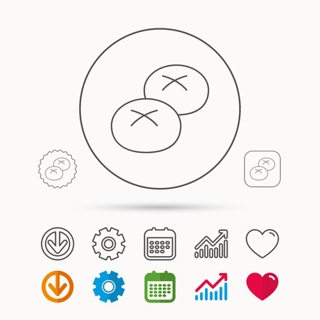 Bread rolls or buns icon. Natural food sign. Bakery symbol. Calendar, Graph chart and Cogwheel signs. Download and Heart love linear web icons.