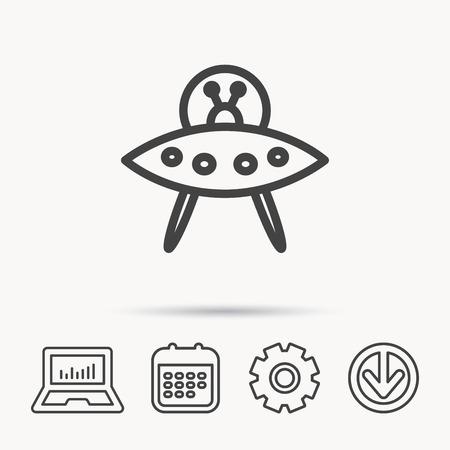 Icono de OVNI Signo de objeto volador desconocido. Símbolo de los marcianos Cuaderno, calendario y signos de rueda dentada. Descargue el icono de flecha web. Ilustración de vector