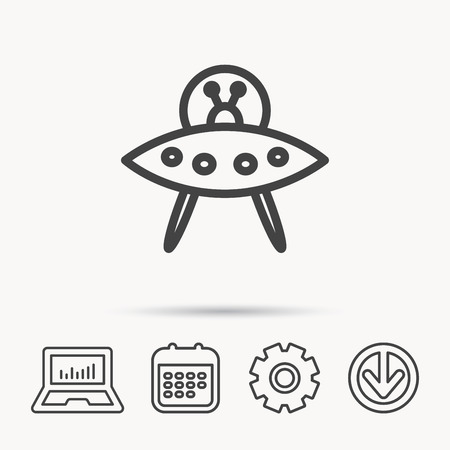 UFO icon. Unknown flying object sign. Martians symbol. Notebook, Calendar and Cogwheel signs. Download arrow web icon.