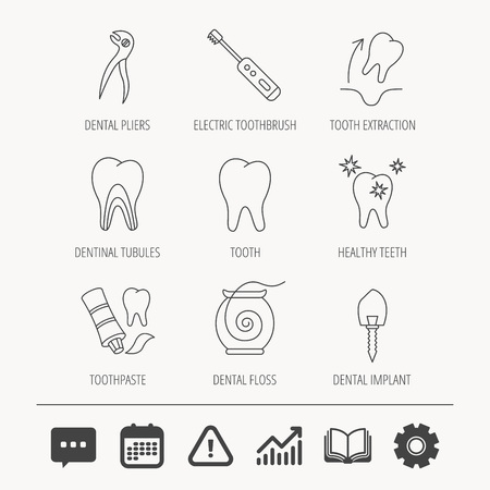 Tooth extraction, electric toothbrush icons. Dental implant, floss and dentinal tubules linear signs. Toothpaste icon. Education book, Graph chart and Chat signs. Illustration