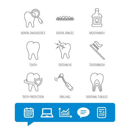 Tooth, dental braces and mouthwash icons. Diagnostics, toothbrush and toothache linear signs. Dentinal tubules, protection flat line icons. Report file, Graph chart and Chat speech bubble signs Illustration