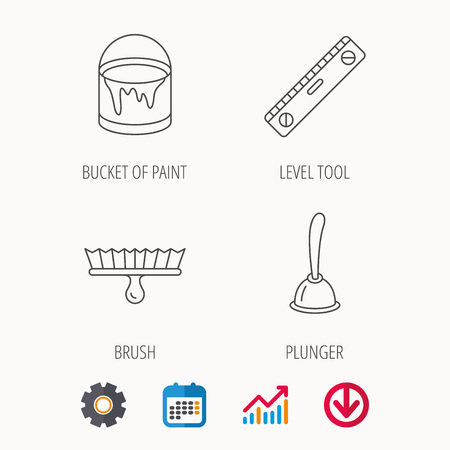 Level tool, plunger and brush tool icons. Bucket of paint linear sign. Calendar, Graph chart and Cogwheel signs. Download colored web icon.
