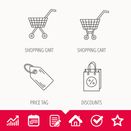 gift basket: Shopping cart, discounts bag and price tag icons. Sale coupon linear sign. Edit document, Calendar and Graph chart signs. Star, Check and House web icons.