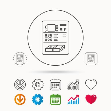 ATM-pictogram. Automatisch teken voor geldopname. Kalender-, grafiek- en tandradborden. Download en Heart love lineaire web iconen. Vector