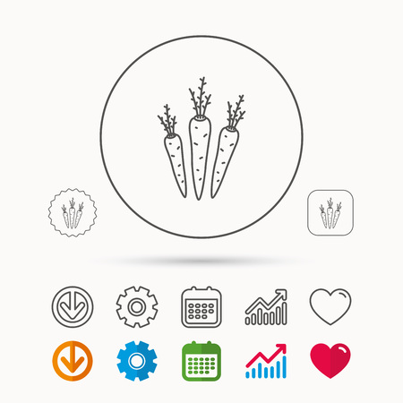 Carrots icon. Vegetarian food sign. Natural vegetables symbol. Calendar, Graph chart and Cogwheel signs. Download and Heart love linear web icons. Vector