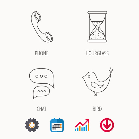 Chat, bird and phone call icons. Hourglass linear sign. Calendar, Graph chart and Cogwheel signs. Download colored web icon. Vector