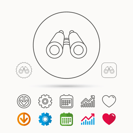 Search icon. Binoculars sign. Spyglass symbol. Calendar, Graph chart and Cogwheel signs. Download and Heart love linear web icons. Vector Illustration