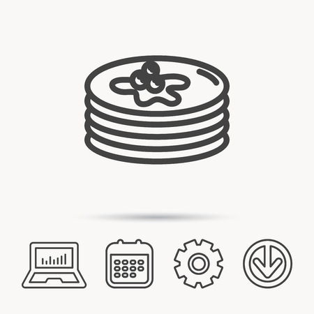 Pancakes icon. American breakfast sign. Food with maple syrup symbol. Notebook, Calendar and Cogwheel signs. Download arrow web icon. Vector