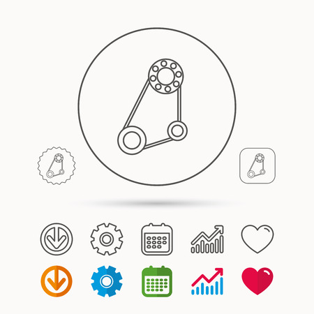 Timing belt icon. Generator strap sign. Repair service symbol. Calendar, Graph chart and Cogwheel signs. Download and Heart love linear web icons. Vector