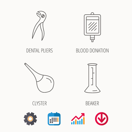 Beaker, blood and dental pliers icons. Clyster linear sign. Calendar, Graph chart and Cogwheel signs. Download colored web icon. Vector