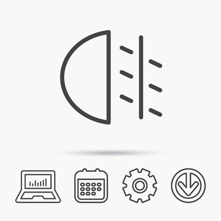 dashboard: Fog lights icon. Car beam sign. Notebook, Calendar and Cogwheel signs. Download arrow web icon. Vector