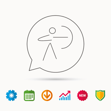 Archery sport icon. Archer with longbow sign. Aiming or targeting symbol. Calendar, Graph chart and Cogwheel signs. Download and Shield web icons. Vector