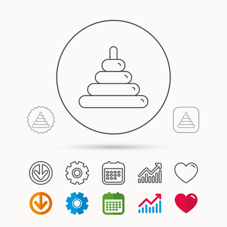Pyramid baby toy icon. Child tower game sign symbol. Calendar, Graph chart and Cogwheel signs. Download and Heart love linear web icons. Vector
