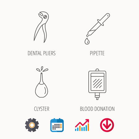Blood donation, pipette and dental pliers icons. Clyster linear sign. Calendar, Graph chart and Cogwheel signs. Download colored web icon. Vector