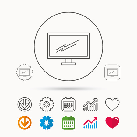 lcd display: PC monitor icon. Led TV sign. Widescreen display symbol. Calendar, Graph chart and Cogwheel signs. Download and Heart love linear web icons. Vector Illustration