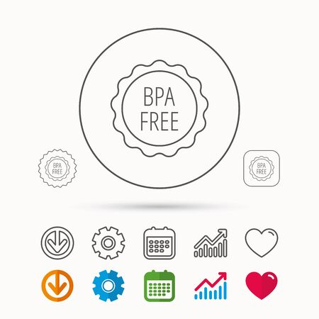BPA free icon. Bisphenol plastic sign. Calendar, Graph chart and Cogwheel signs. Download and Heart love linear web icons. Vector