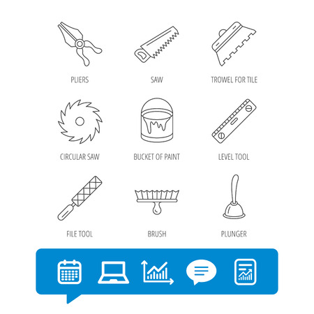 Trowel for tile, saw and brush tool icons. Level and file tool, bucket of paint linear signs. Plunger, pliers icons. Report file, Graph chart and Chat speech bubble signs. Vector Illustration