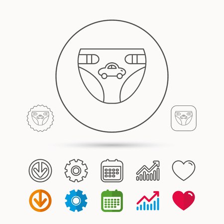 incontinence: Diaper with car icon. Child underwear sign. Newborn protection symbol. Calendar, Graph chart and Cogwheel signs. Download and Heart love linear web icons. Vector Illustration