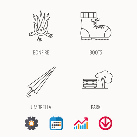 Bonfire, umbrella and hiking boots icons. Park linear sign. Calendar, Graph chart and Cogwheel signs. Download colored web icon. Vector