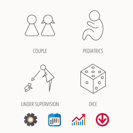 obstetrics: Couple, paediatrics and dice icons. Under supervision linear sign. Calendar, Graph chart and Cogwheel signs. Download colored web icon. Vector