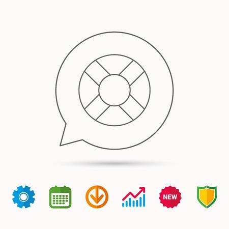Icona di Lifebuoy. Segno di sospensione di vita. Simbolo dell'apparecchiatura di aiuto di Lifesaver. Calendario, Grafico grafico e segni Cogwheel. Scaricare e schermare le icone web. Vettore