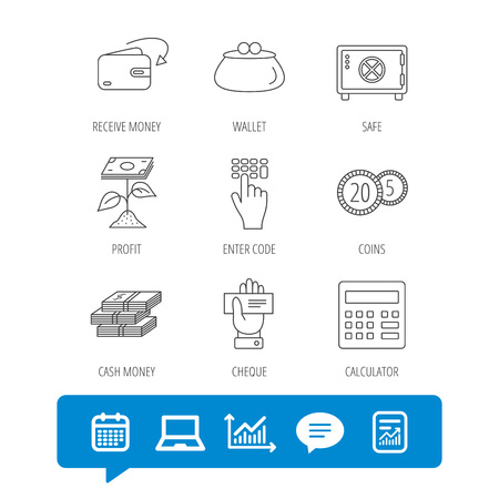 Cash money, safe box and calculator icons. Safe box, cheque and dollar usd linear signs. Profit investment, wallet and coins icons. Report file, Graph chart and Chat speech bubble signs. Vector