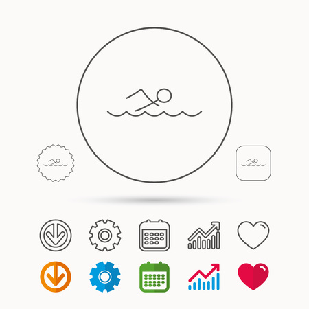 forbidden love: Swimming icon. Swimmer in waves sign. Professional sport symbol. Calendar, Graph chart and Cogwheel signs. Download and Heart love linear web icons. Vector