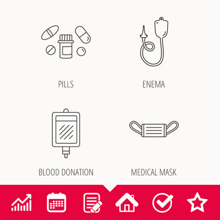 Medical mask, blood and pills icons. Enema linear sign. Edit document, Calendar and Graph chart signs. Star, Check and House web icons. Vector