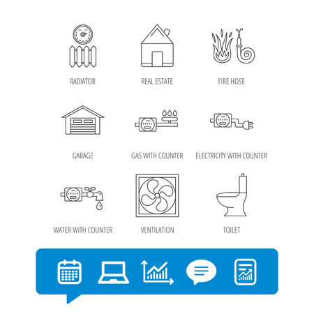 Ventilation, garage and heat radiator icons. Gas, water and electricity counter linear signs. Real estate, toilet and fire hose icons. Report file, Graph chart and Chat speech bubble signs. Vector